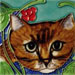 Brown Cat Face with Red Berries SD-077