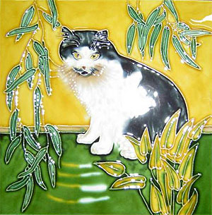 Black and White Persian Cat Tile