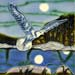 Gull on the Wing in Moonlight #035