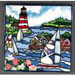 Lighthouse with Three Sailboats #BD-0766