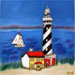 One Lighthouse and Sailboats #BD-0048