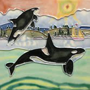 Leaping Orcas Tile #1586