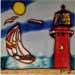 Red Lighthouse with Sail Boat #SD-031