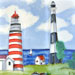 Red Striped and Black Striped Lighthouses #BD-0426
